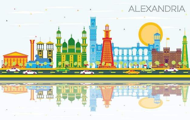 Panoramę miasta aleksandria egipt z kolorowymi budynkami, błękitne niebo i odbicia. ilustracja wektorowa. podróże służbowe i koncepcja turystyki z zabytkową architekturą. aleksandria gród z zabytkami.