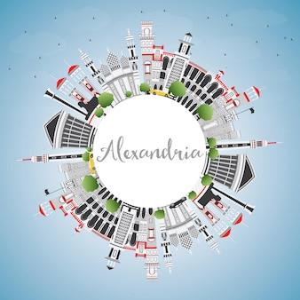 Panoramę miasta aleksandria egipt z szarymi budynkami, błękitne niebo i miejsca kopiowania. ilustracja wektorowa. podróże służbowe i koncepcja turystyki z zabytkową architekturą. aleksandria gród z zabytkami.