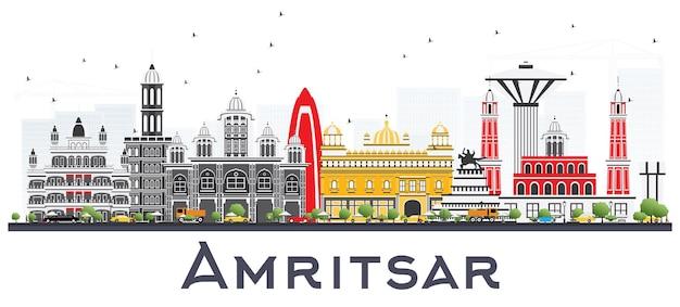 Panoramę miasta amritsar indie z szarymi budynkami na białym tle. ilustracja wektorowa. podróże służbowe i koncepcja turystyki z zabytkową architekturą. amritsar gród z zabytkami.