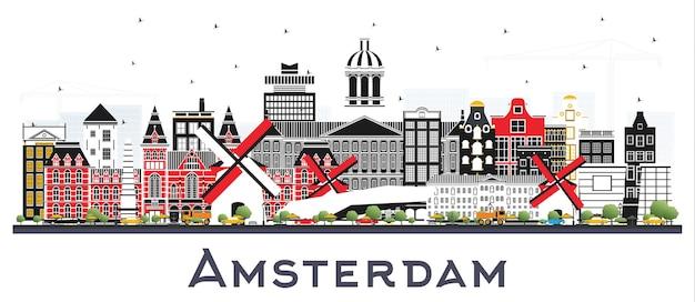 Panoramę miasta amsterdam holland z kolorowymi budynkami na białym tle