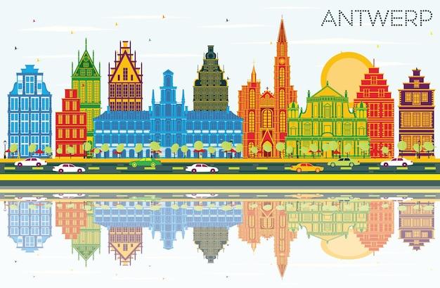 Panoramę miasta antwerpia belgia z kolorowymi budynkami, błękitne niebo i refleksje. ilustracja wektorowa. podróże służbowe i koncepcja turystyki z zabytkową architekturą. gród antwerpia z zabytkami.