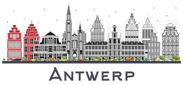 Panoramę miasta antwerpia belgia z szarymi budynkami na białym tle. ilustracja wektorowa. podróże służbowe i koncepcja turystyki z zabytkową architekturą. gród antwerpia z zabytkami.