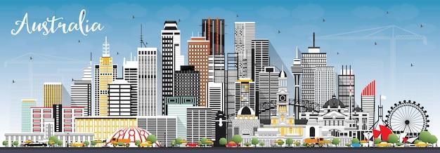 Panoramę miasta australii z szarymi budynkami i błękitnym niebem