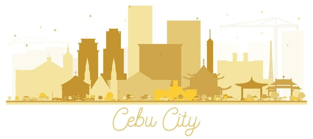 Panoramę miasta cebu złota sylwetka. ilustracja wektorowa. prosta koncepcja płaska do prezentacji turystyki, banera, afiszu lub strony internetowej. koncepcja podróży biznesowych. pejzaż miejski z zabytkami.