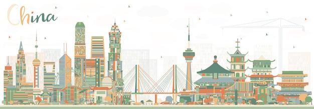 Panoramę miasta chin. słynne zabytki w chinach. ilustracja wektorowa. koncepcja podróży służbowych i turystyki. obraz do prezentacji, banera, plakatu i witryny sieci web.