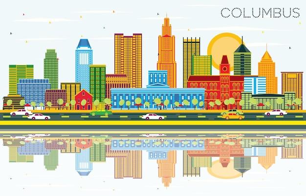 Panoramę miasta columbus ohio z kolorowymi budynkami, błękitnym niebem i odbiciami. ilustracja wektorowa. podróże służbowe i koncepcja turystyki z nowoczesną architekturą. columbus gród z zabytkami.