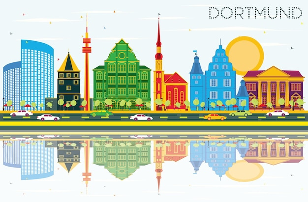 Panoramę miasta dortmund niemcy z kolorowymi budynkami, błękitne niebo i refleksje. ilustracja wektorowa. podróże służbowe i koncepcja turystyki z zabytkową architekturą. gród dortmundu z zabytkami.