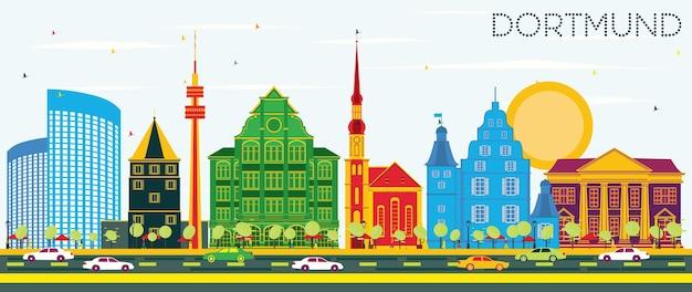 Panoramę miasta dortmund niemcy z kolorowymi budynkami i błękitnym niebem. ilustracja wektorowa. podróże służbowe i koncepcja turystyki z zabytkową architekturą. gród dortmundu z zabytkami.