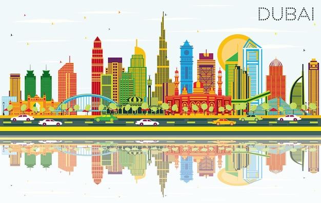 Panoramę miasta dubaj zea z kolorowymi budynkami, błękitnym niebem i odbiciami. ilustracja wektorowa. podróże służbowe i koncepcja turystyki z nowoczesną architekturą. gród dubaju z zabytkami.