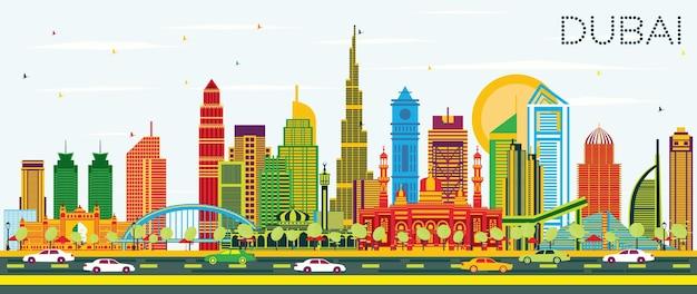 Panoramę miasta dubaj zea z kolorowymi budynkami i błękitnym niebem. ilustracja wektorowa. podróże służbowe i koncepcja turystyki z nowoczesną architekturą. gród dubaju z zabytkami.