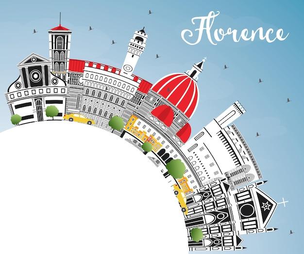 Panoramę miasta florencja włochy z kolorowymi budynkami, błękitne niebo i miejsca kopiowania. ilustracja wektorowa. podróże służbowe i koncepcja turystyki z nowoczesną architekturą. florencja gród z zabytkami.