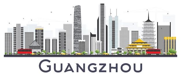Panoramę miasta guangzhou chiny z szarymi budynkami na białym tle. ilustracja wektorowa. podróże służbowe i koncepcja turystyki z nowoczesnymi budynkami. gród guangzhou z zabytkami.