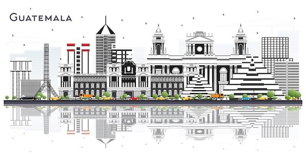 Panoramę miasta gwatemala z szarymi budynkami i refleksje na białym tle. ilustracja wektorowa. podróże służbowe i koncepcja turystyki z nowoczesną architekturą. gwatemala gród z zabytkami.