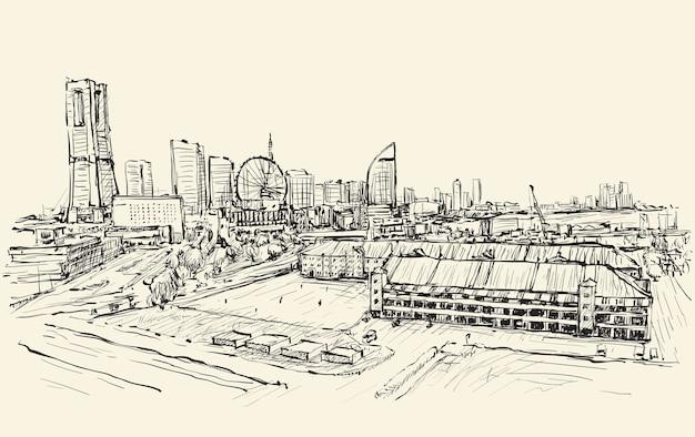 Panoramę miasta jokohama w japonii, rysunek odręczny