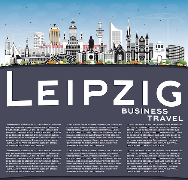 Panoramę miasta lipsk niemcy z szarymi budynkami, błękitne niebo i miejsca kopiowania. ilustracja wektorowa. podróże służbowe i koncepcja turystyki z zabytkową architekturą. gród lipsk z zabytkami.