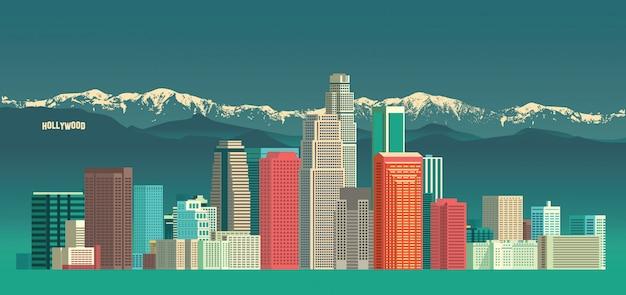 Panoramę miasta los angeles