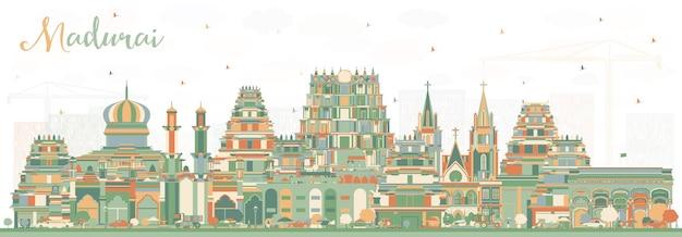 Panoramę miasta madurai indie z kolorowymi budynkami. ilustracja wektorowa. podróże służbowe i koncepcja z historyczną architekturą. gród madurai z zabytkami.