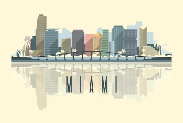 Panoramę miasta miami w ilustracji usa