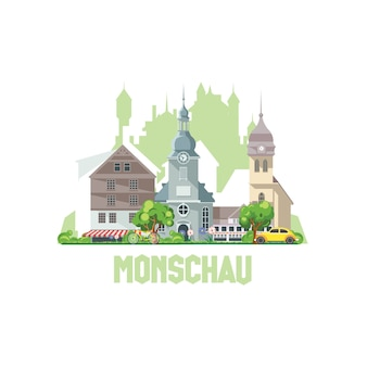 Panoramę miasta monschau, niemcy. krajobraz miasta ze starożytnymi budynkami i zamkami.