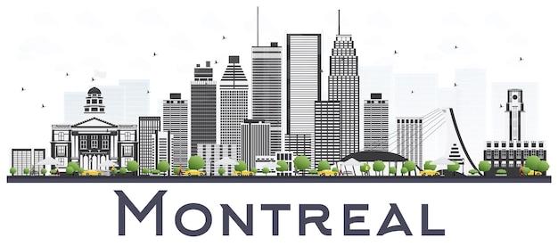 Panoramę miasta montreal kanada z szarymi budynkami na białym tle. pejzaż montrealu z zabytkami.