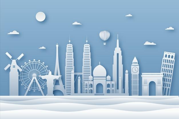 Panoramę miasta niebieski charakter w stylu papieru