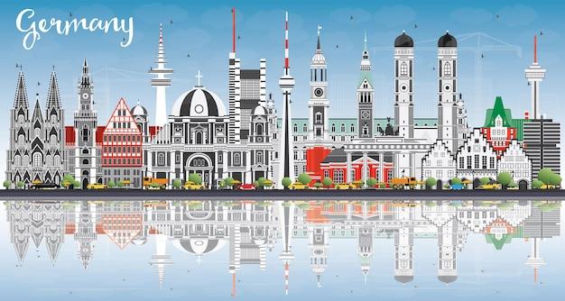 Panoramę miasta niemcy z szarymi budynkami, błękitne niebo i refleksje. ilustracja wektorowa. podróże służbowe i koncepcja turystyki z zabytkową architekturą. niemcy gród z zabytkami.