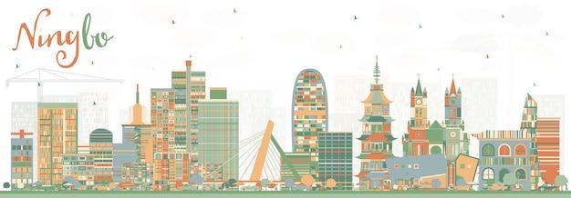 Panoramę miasta ningbo china z kolorowymi budynkami. ilustracja wektorowa. podróże służbowe i koncepcja turystyki z zabytkową architekturą. gród ningbo z zabytkami.