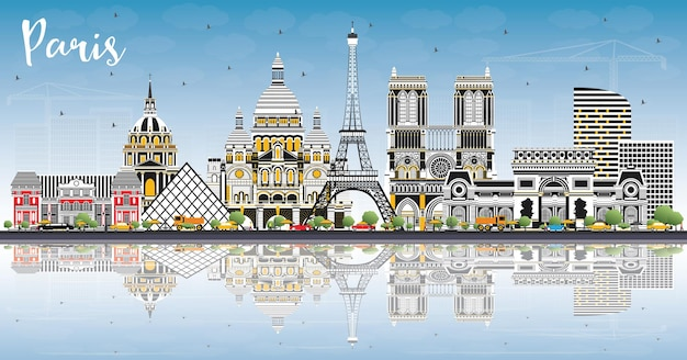 Panoramę miasta paryż francja z kolorowymi budynkami, błękitne niebo i refleksje. ilustracja wektorowa. podróże służbowe i koncepcja z historyczną architekturą. pejzaż paryża z zabytkami