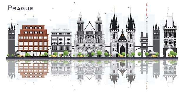 Panoramę miasta praga czechy z szarymi budynkami na białym tle vector