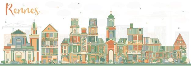 Panoramę miasta rennes francja z kolorowymi budynkami. ilustracja wektorowa. podróże służbowe i koncepcja turystyki z zabytkową architekturą. rennes gród z zabytkami.