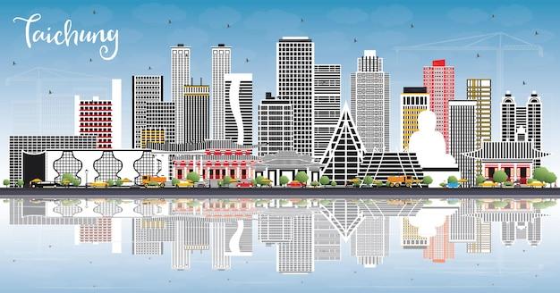Panoramę miasta taichung na tajwanie z szarymi budynkami, niebieskim niebem i odbiciami. ilustracja