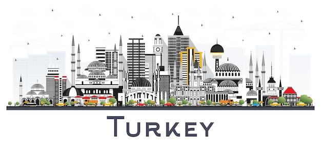 Panoramę miasta turcja z kolorowymi budynkami na białym tle. ilustracja wektorowa. koncepcja turystyki z zabytkową architekturą. turcja gród z zabytkami. izmir. ankara. stambuł.