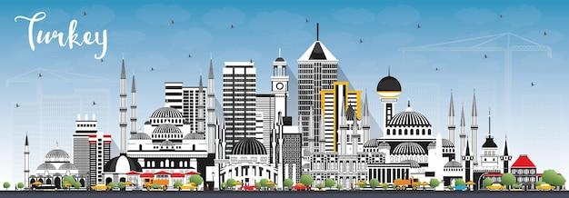 Panoramę miasta turcja z szarymi budynkami i błękitnym niebem. ilustracja. koncepcja turystyki z zabytkową architekturą. turcja pejzaż miejski z zabytkami