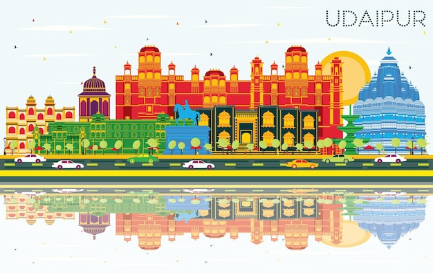 Panoramę miasta udaipur indie z kolorowymi budynkami, błękitnym niebem i odbiciami. ilustracja wektorowa. podróże służbowe i koncepcja turystyki z zabytkową architekturą. gród udaipur z zabytkami.
