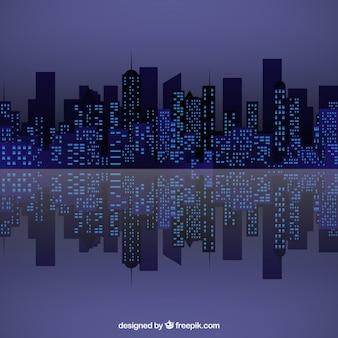 Panoramę miasta w nocy