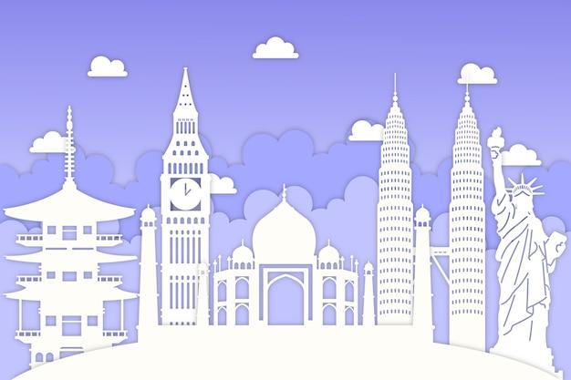 Panoramę miasta w stylu niebieskiego i białego papieru
