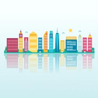 Panoramę miasta w tle