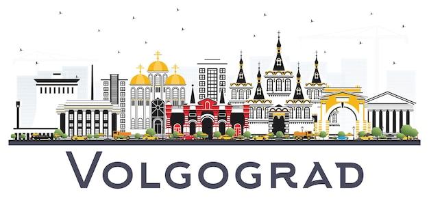 Panoramę miasta wołgograd rosja z kolorowymi budynkami na białym tle. ilustracja wektorowa. podróże służbowe i koncepcja turystyki z zabytkową architekturą. gród wołgograd z zabytkami.