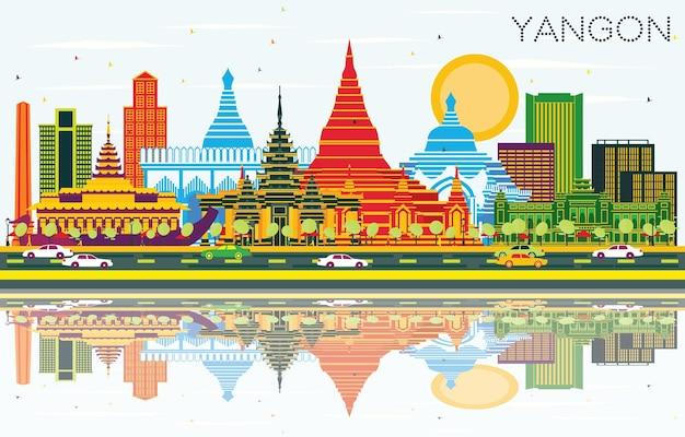 Panoramę miasta yangon myanmar z kolorowymi budynkami, niebieskim niebem i odbiciami. ilustracja wektorowa. podróże służbowe i koncepcja turystyki z zabytkową architekturą. rangun gród z zabytkami.