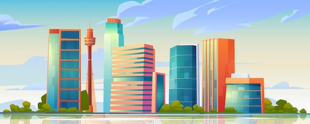 Panoramę miejskiego budynku panoramiczną ilustrację