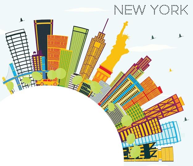 Panoramę nowego jorku z kolorowymi budynkami, błękitnym niebem i przestrzenią do kopiowania. ilustracja wektorowa. podróże służbowe i koncepcja turystyki z nowoczesną architekturą. obraz banera prezentacji i witryny sieci web.