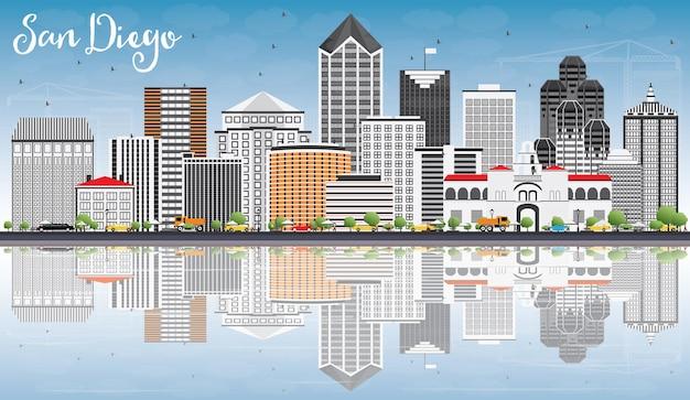 Panoramę san diego z szarymi budynkami, błękitnym niebem i odbiciami. ilustracja wektorowa. podróże służbowe i koncepcja turystyki z nowoczesną architekturą. obraz banera prezentacji i witryny sieci web.