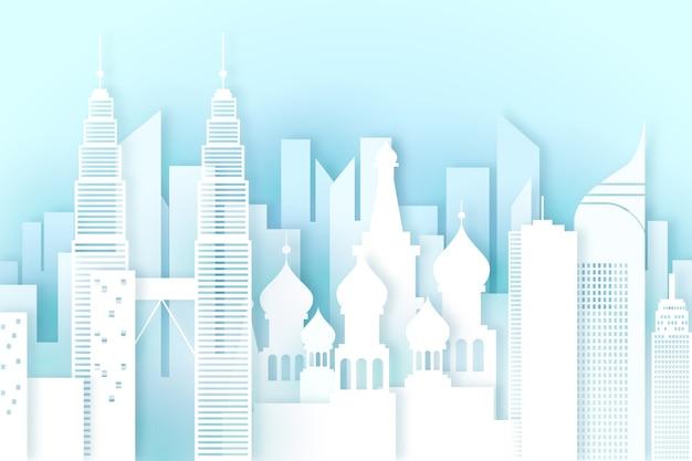 Panoramę zabytków w stylu papierowym