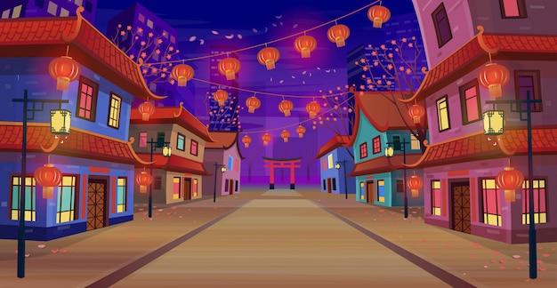 Panoramiczna chińska ulica z chińskim znakiem zodiaku rok czerwonego szczura, domy, chiński łuk, latarnie i girlanda w nocy. ilustracja wektorowa ulicy miasta w stylu cartoon.