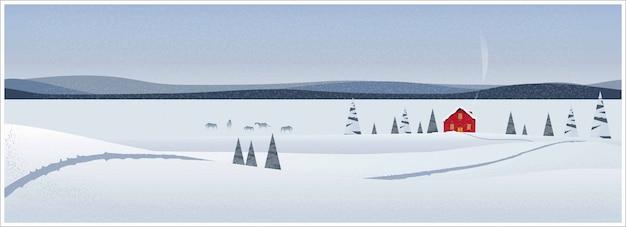Panoramiczna ilustracja zima krajobraz. minimalny wizerunek czerwona stajnia w gospodarstwie rolnym z końską śnieżną jodłą nad sceną