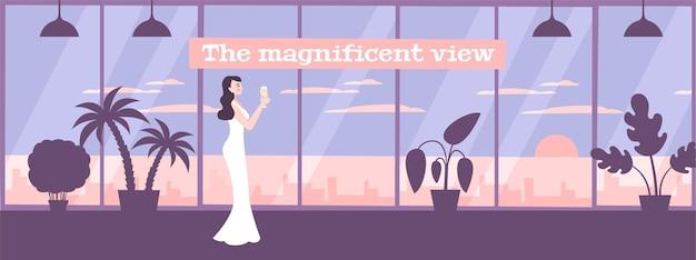 Panoramiczne okna w mieszkaniu z ilustracją eleganckiej kobiety