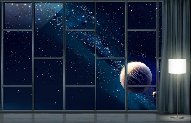 Panoramiczne okno kosmicznego hotelu. pojęcie. podróż kosmiczna