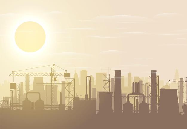 Panoramiczny krajobraz przemysłowy sylwetka. fajki fabryczne do palenia. roślinne rury, niebo ze słońcem. emisja dwutlenku węgla. zanieczyszczenie środowiska. zanieczyszczenie środowiska co2. ilustracja wektorowa