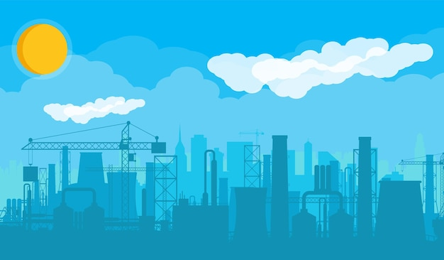 Panoramiczny krajobraz przemysłowy sylwetka