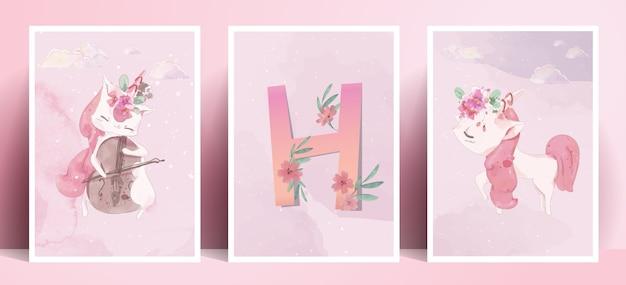 Panoramiczny styl życia akwarelowy życie codzienne jednorożec w ludzkich gestach romantyczna ilustracja w pastelowych kolorach.